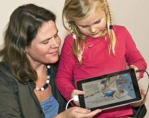 iPad aangesloten op beamer